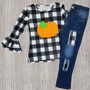 Checkered Pumpkin Bell Sleeve Distressed Jeans Set